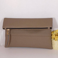 Brown Evening clutch bag, wedding clutch for bride, foldover leather clutch, brown leather purse, gift for bridesmaids, wedding clutch bag