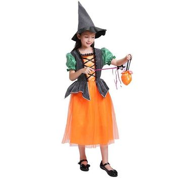 Children's Halloween Costumes For Girls Cosplay Pumpkin tutu Princess Dress + Hat + Bag 4pcs Clothes Party Dresses Kids Clthing
