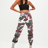 Missguided - Red Camo Printed Cargo Pants