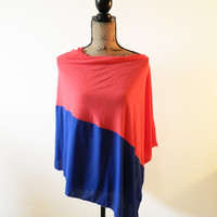 Colorblock Poncho in Coral and Cobalt Blue/ Nursing Poncho/ Breastfeeding Cover/ Nursing Shawl/ Summer Shawl/ Summer Poncho/ New Mom Gift