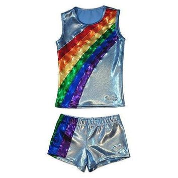 O3CHSET035 - Obersee Cheer Dance Tank and Shorts Set - Rainbow Arc