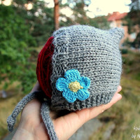Cute baby pixie hat - handknit, with blue flower appliques, pixie beanie, baby hat, fine and silky New Zealand wool