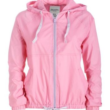 Pastel Full-Zip Hooded Windbreaker