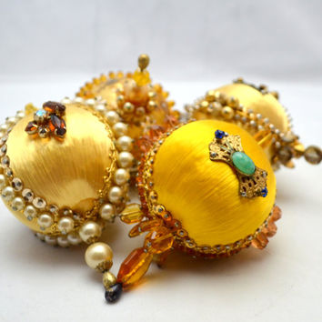 Vintage Beaded Christmas Ornaments, Yellow Ornament Lot of 4, Exquisitely Jeweled, Faux Pearls and Sequins, 1960s
