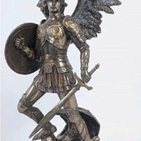St. Michael the Archangel in lightly hand-painted, cold-cast bronze, 12.75inches