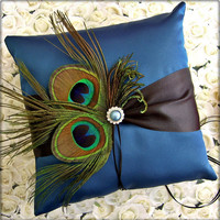 Peacock Feathers Wedding Ring Bearer Pillow,  Peacock Blue and Black Wedding Colors