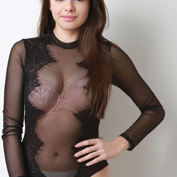Semi-Sheer Mesh Bodysuit