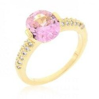 Pink Oval Cubic Zirconia Engagement Ring (size: 06) (pack of 1 ea)