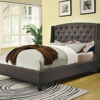 King size Upholstered Bed in Dark Charcoal with Button-Tufted Headboard