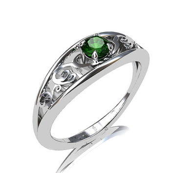 Chrome tourmaline engagement ring, filigree, white gold ring, green tourmaline wedding, unique, tourmaline solitaire, filigree wedding,