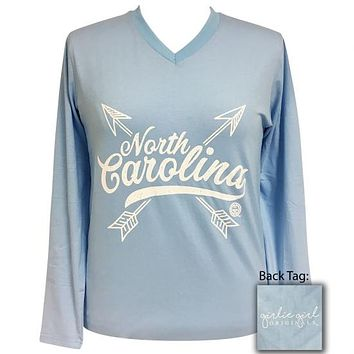 Girlie Girl Preppy North Carolina Arrows V-Neck Long Sleeve T-Shirt