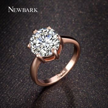 NEWBARK Wedding Rings Classic 6 Prongs Sparkling Solitaire Big 4 Carat Cut Zirconia CZ Engagement Forever Ring For Women