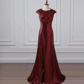 adln mermaid Evening Dresses with slit scoop sequin long promDresses Elegant party gowns rose gold green burgundy black red
