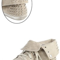 Vintage Annabelle04 Gray Studded Laced Flap Sneakers and Shop Shoes at MakeMeChic.com