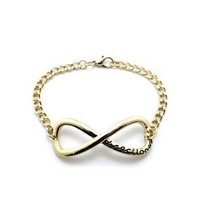"NEW ONE DIRECTION 1D INFINITY DIRECTIONER 4mm & 7"" LINK CHAIN BRACELET XB283"