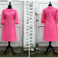 Lovely Valentine's Day Dress/ Heart Candy Pink Dress / X-Large Bubble Gum Dress/ 50s 60s Pink Dress/ Jackie O Dress