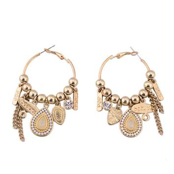 Bohemia Style Gold-color Water Drop Shape & Long Chain Pendant Ethnic Statement Hoop Earrings