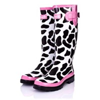 MOOMOO Cotswold Flat Cow Festival Welly Knee High Rain Boots