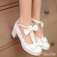 J-fashion Lolita Knotbow Princess Thick Heel Free Shipping SP140486 from SpreePicky