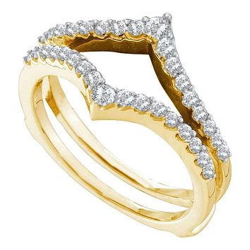 14kt Yellow Gold Women's Round Diamond Ring Guard Wrap Enhancer Wedding Band 1/2 Cttw - FREE Shipping (US/CAN)