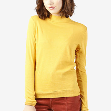 Mae Mock Neck Sweater - Mustard