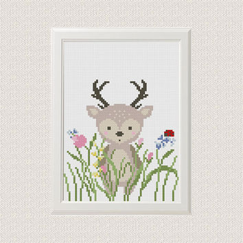 Deer cross stitch pattern Baby cross stitch pattern Funny cross stitch Funny embroidery Deer embroidery pattern Deer