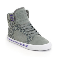 Supra Womens Skytop Grey & Cheetah Print Suede Shoe