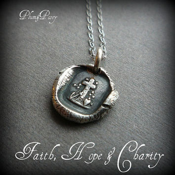 Faith Hope & Charity Petite Wax Seal Necklace