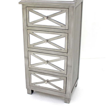 Tropical Style Mirrored Chest with 4 Drawers