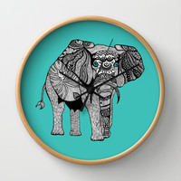 Tribal Elephant Black and White Version Wall Clock by Pom Graphic Design