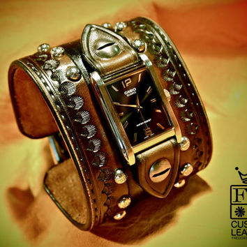 Leather cuff watch Cowboy Rockstar Style Old west Punk wristwatch Wide and DEEP handmade for YOU in NYC by Freddie Matara!