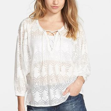Junior Women's Volcom Long Sleeve Burnout Peasant Top,