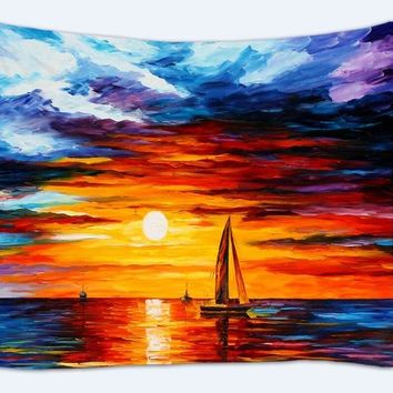 Scenery Tapestry Oil Painting Scenic Wall hanging Tapestries India Mandala Wall mat Beach Towel Bikini Cover table cloth