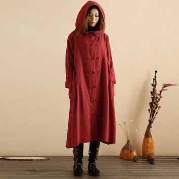 Plus Size M-5XL ZANZEA Women Hooded Buttons Open Casual Loose Long Dress Winter Spring Oversized Pockets Cotton Kaftan Vestido
