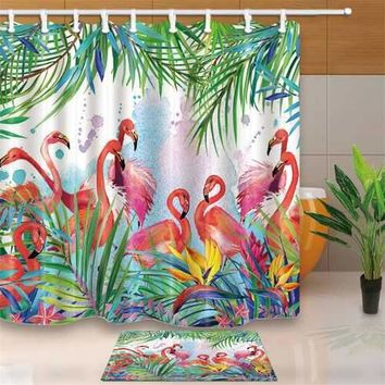 Tropical flowers and Flamingo Theme Bathroom Shower Curtain Waterproof Fabric & 12hooks