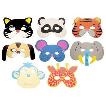 DKF4S 10PCS/set Birthday Party Supplies EVA Foam Cartoon Animal Masks Kids Chiildren Party Dress Up Costume Zoo Jungle Party Supplies