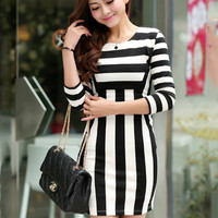 Black and White Striped Half Sleeve Mini Bodycon Dress
