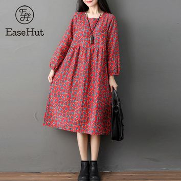 EaseHut Oversized Autumn Casual Long Sleeve XXL Women Vintage Printed Cotton Linen Loose Midi-Carf Dress Vestidos Robe Dresses