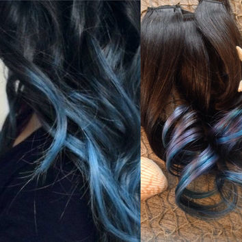 Dip Dye Hair Extensions, Ombre Hair Extensions,  Hair Extensions Clip in, Blue Hair, Teal Hair, Thick Hair, Brown Hair, Mermaid Hair