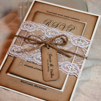 Rustic Wedding Invitation set, Lace and Kraft rustic wedding invite, Burlap and lace wedding, Rustic Wedding invitations, Distressed invite
