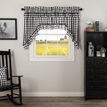 Annie Black Buffalo Check Ruffled Swag Curtains
