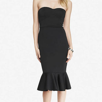 STRAPLESS SCUBA FLOUNCE DRESS - BLACK from EXPRESS
