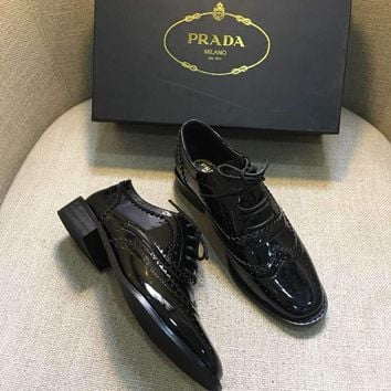 PRADA New Fashion Women Classic Black Retro Leather Shoes I-AHD-HNXG-ZD
