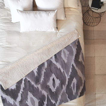 Natalie Baca Painterly Ikat in Black Fleece Throw Blanket