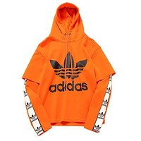 Adidas Trending Women Men Casual Stylish Clover Print Long Sleeve Hooded Sweatshirt Pullover Top Orange I13196-1