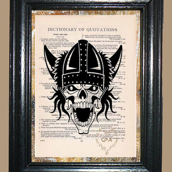 Viking Skull Illustration - Vintage Dictionary Page Book Art Print Upcycled Page Art Collage Art Skull Print