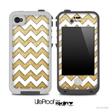 Gold and White Chevron Pattern for the iPhone 5 or 4/4s LifeProof Case