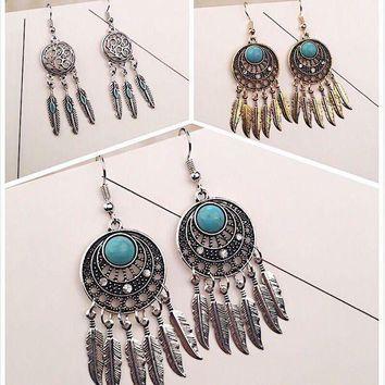 DCCK0OQ Vintage Earrings Leaf Tassels Turquoise Feather Dream Catcher [11573014036]