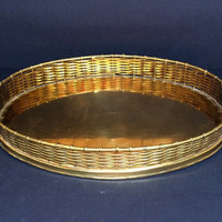 Vintage Brass Tray, Wicker Look in Oval Shape with Bamboo-Style Handles