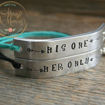 Set of 2 Friendship Bracelet Her One HIS ONLY Hand Stamped Quote With Lobster Clasp Hemp Cord Couples Pair of Bracelets Valentines Day Gift